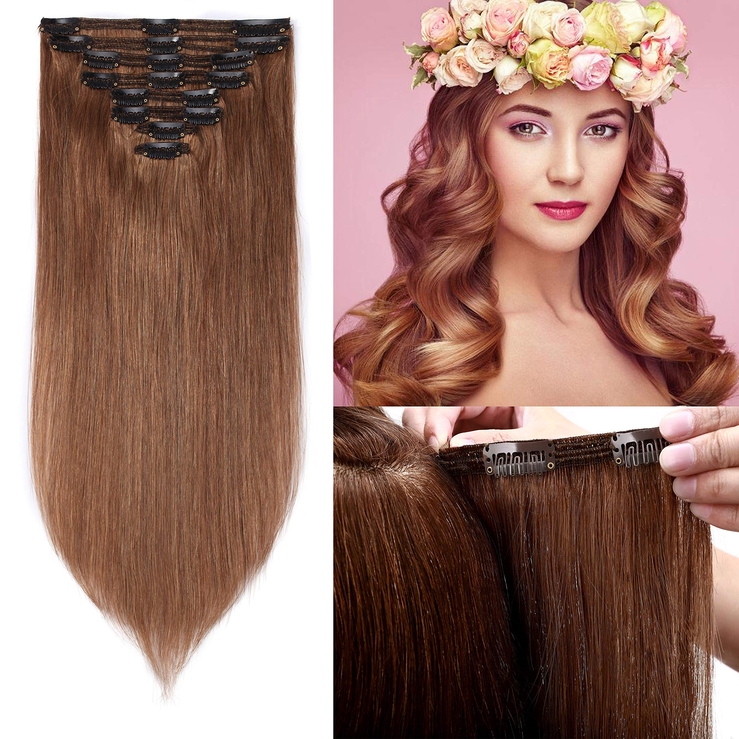 "S-noilite 22"" Thicken Clip in Hair Double Weft 100% Real Human Hair Made 160grams Long Straight Clip in Human Hair Extensions Light Brown 8pcs per pack for Full Head #6"