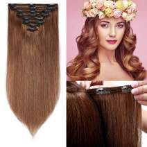 """S-noilite 22"""" Thicken Clip in Hair Double Weft 100% Real Human Hair Made 160grams Long Straight Clip in Human Hair Extensions Light Brown 8pcs per pack for Full Head #6"""
