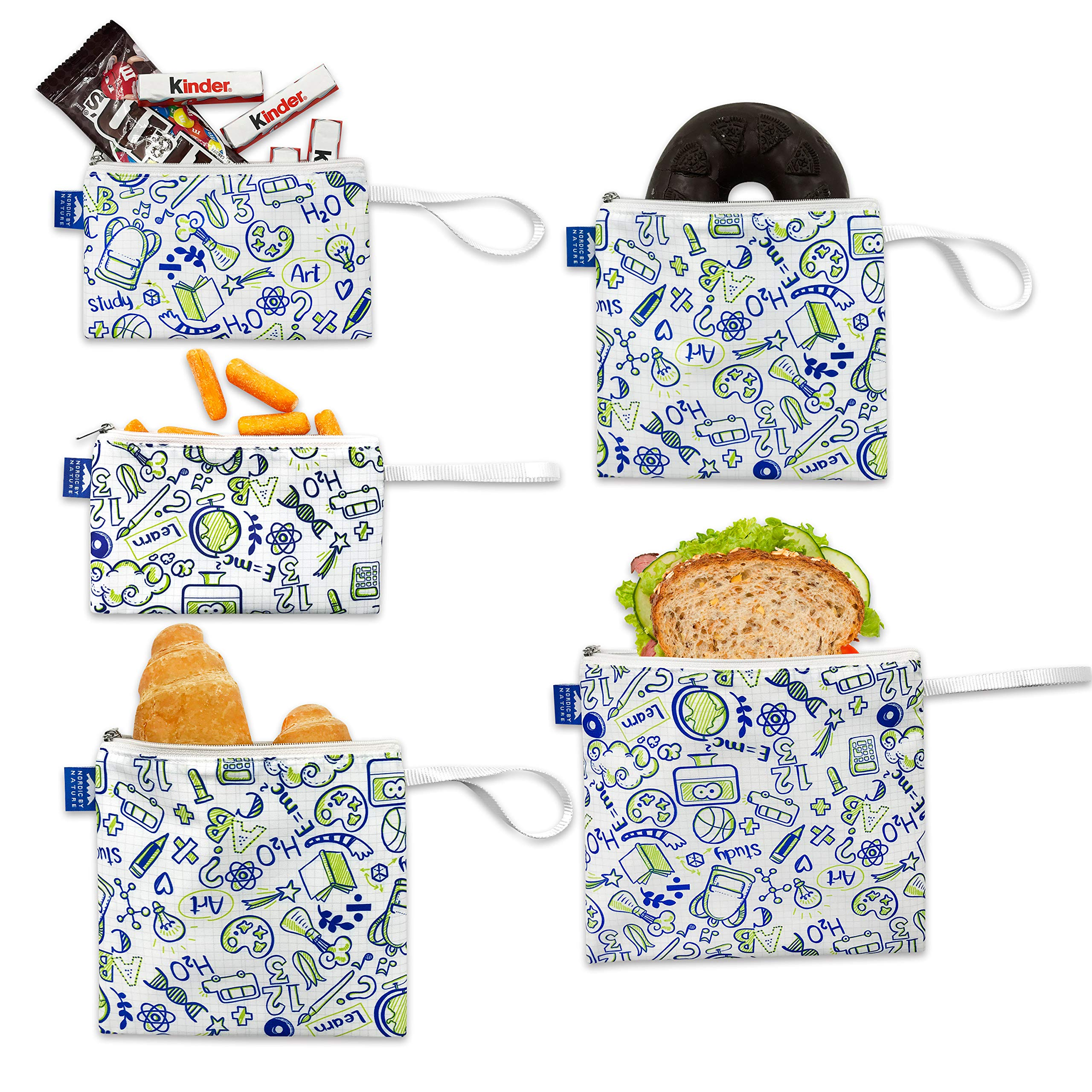 Nordic By Nature Reusable Sandwich Bag Snack Bags - Value Pack of 5 Dual Layer Lunch Baggies - Dishwasher Safe - Eco Friendly Cloth Wraps - Easy Open Zipper For Kids (Back to School)