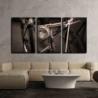 """wall26 - 3 Piece Canvas Wall Art - Antique Bicycle - Vintage Black and White Filter Effect Style Pictures - Modern Home Decor Stretched and Framed Ready to Hang - 16""""x24""""x3 Panels"""