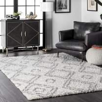 "nuLOOM Iola Soft & Plush Shag Area Rug, 6' 7"" x 9', White"