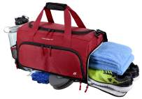 """Ultimate Gym Bag 2.0: The Durable Crowdsource Designed Duffel Bag with 10 Optimal Compartments Including Water Resistant Pouch (Red, Medium (20""""))"""