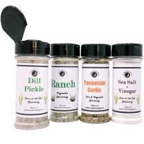 Premium | CORN ON THE COB & VEGETABLE Seasonings | Variety 4 Pack | Sea Salt & Vinegar | Dill Pickle | Parmesan Garlic | Parmesan Ranch | Large Shakers