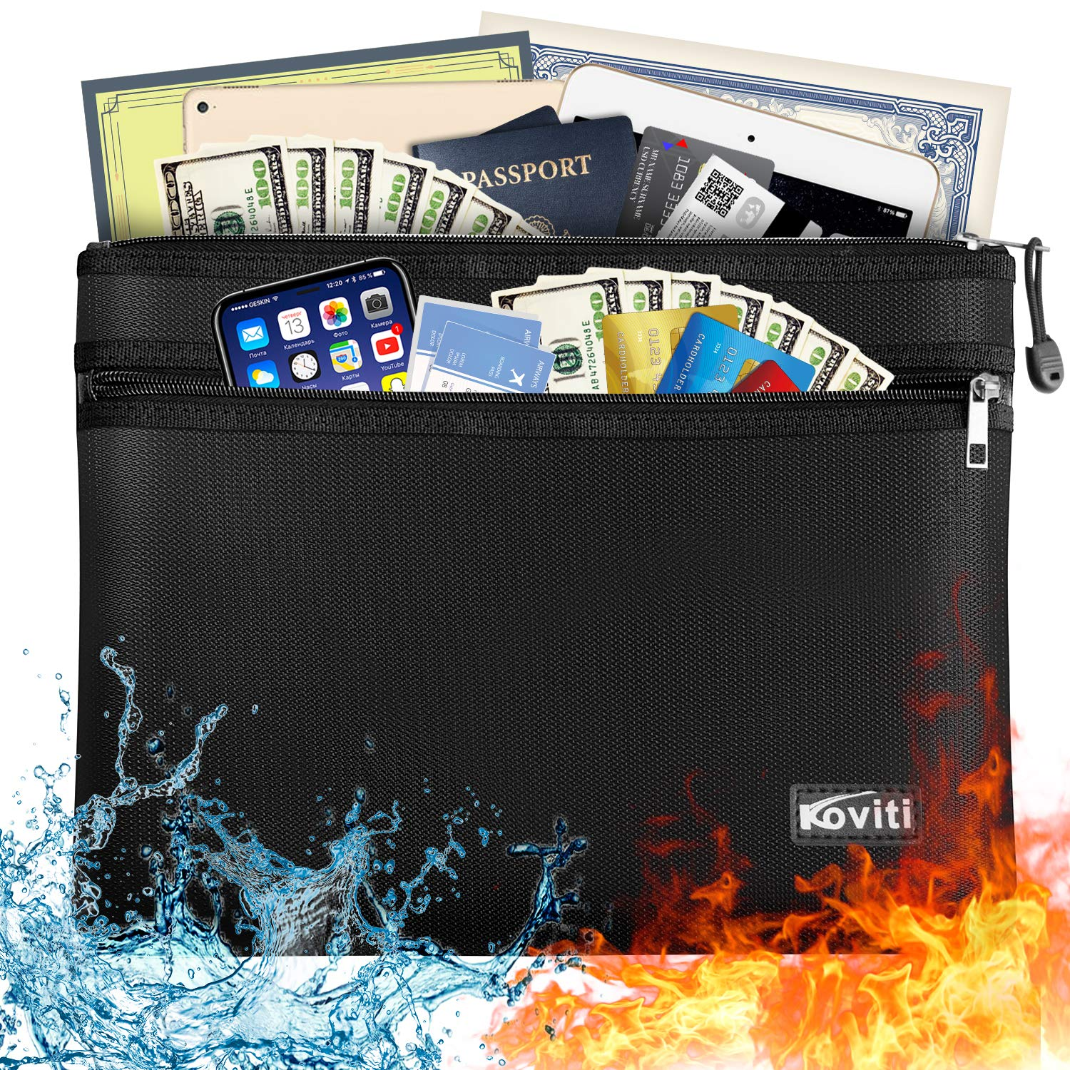 """Large Fireproof Document Bag with Two Pockets Two Zippers, 13.7""""x 9.8"""" Water Resistant Fireproof Pouch, Fireproof Safe Storage Money Bag for A4 Document Holder,Cash,File,Tablet,Passport and Valuables"""