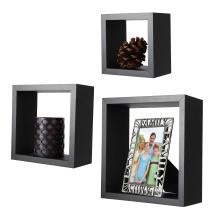 ARAD Black Contemporary Floating Set of 3 Square Wood Shelves
