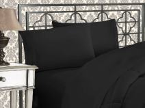 Elegant Comfort Luxurious 1500 Thread Count Egyptian Three Line Embroidered Softest Premium Hotel Quality 4-Piece Bed Sheet Set, Full, Black