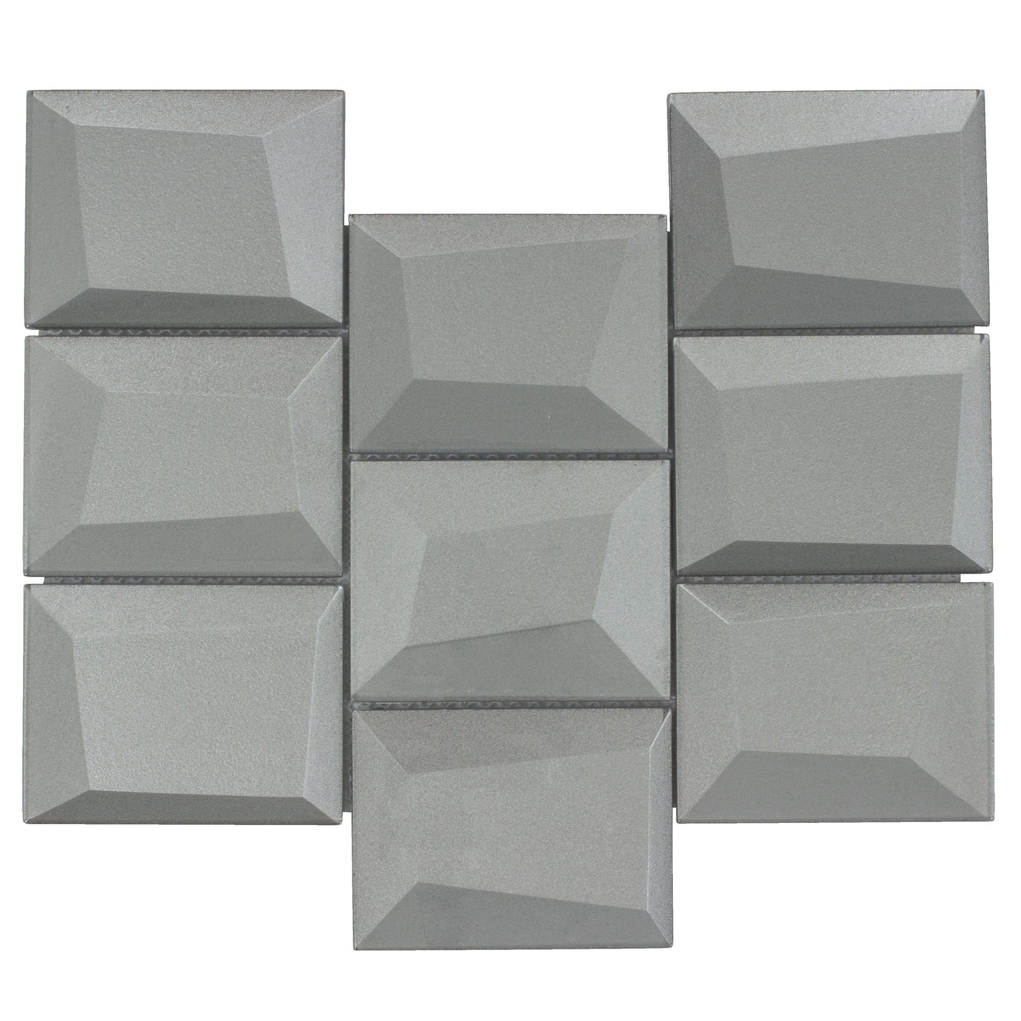 MTO0150   Modern Squares Gray Glossy Glass Mosaic Tile