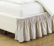 """Fancy Collection Queen- King Easy Fit Bed Ruffle wrap Around Elastic Bed Skirt with 17"""" Drop New Easy Install Solid Beige New"""