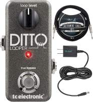 TC Electronic Ditto Looper Pedal with True Bypass Bundle with Blucoil Slim 9V 670ma Power Supply AC Adapter, and 10-FT Straight Instrument Cable (1/4in)
