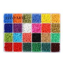 Efivs Arts Glass Seed Beads,24 Colors 6/0 4mm Small Pony Beads Multicolor Beading Beads with Container Box for Jewelry Making - Approx 7200pcs