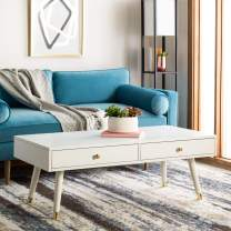 Safavieh Home Levinson Mid-Century Modern White and Gold Cap 2-drawer Coffee Table