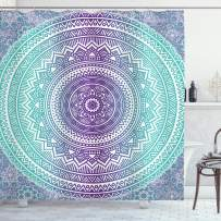 """Ambesonne Blue and Purple Shower Curtain, Mandala Ombre Eastern Mystic Abstract Old Fashion Bohemian Native Cosmos Art, Cloth Fabric Bathroom Decor Set with Hooks, 75"""" Long, Purple"""