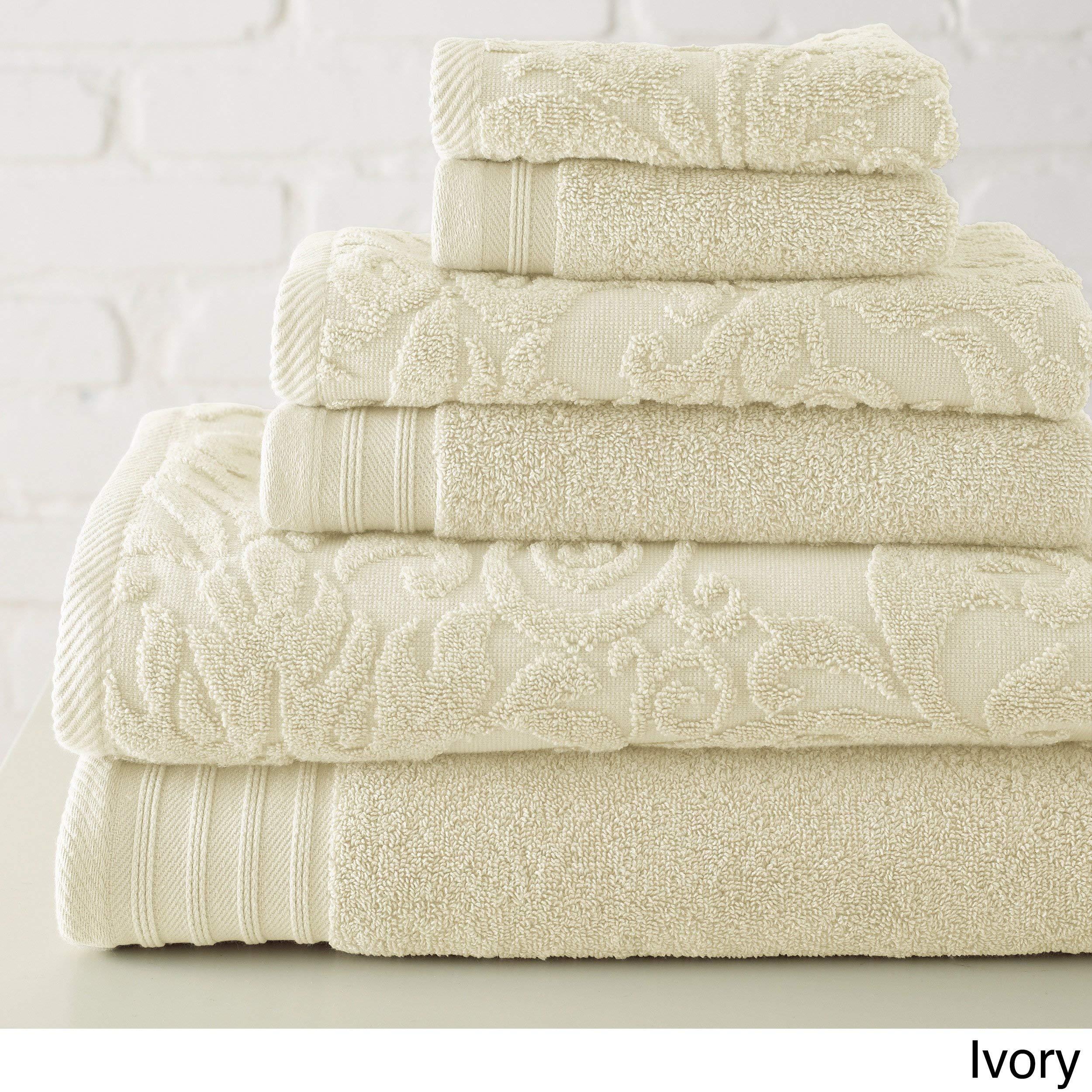 Amrapur Overseas 56JACQLS-Ivy-ST 6 Piece Jacquard/Solid Towel Set Leaf Swirl Ivory, Standard