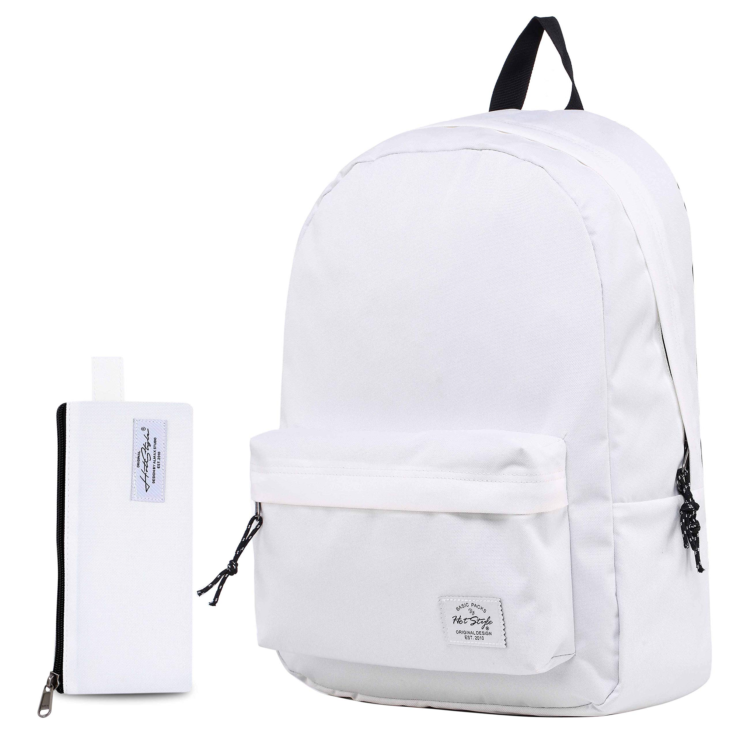 SIMPLAY Classic School Backpack Bookbag, White(with marching pencil bag)
