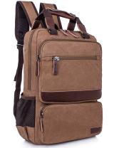 Leaper Vintage Laptop Backpack College School Casual Daypack Travel Rucksack (Coffee)