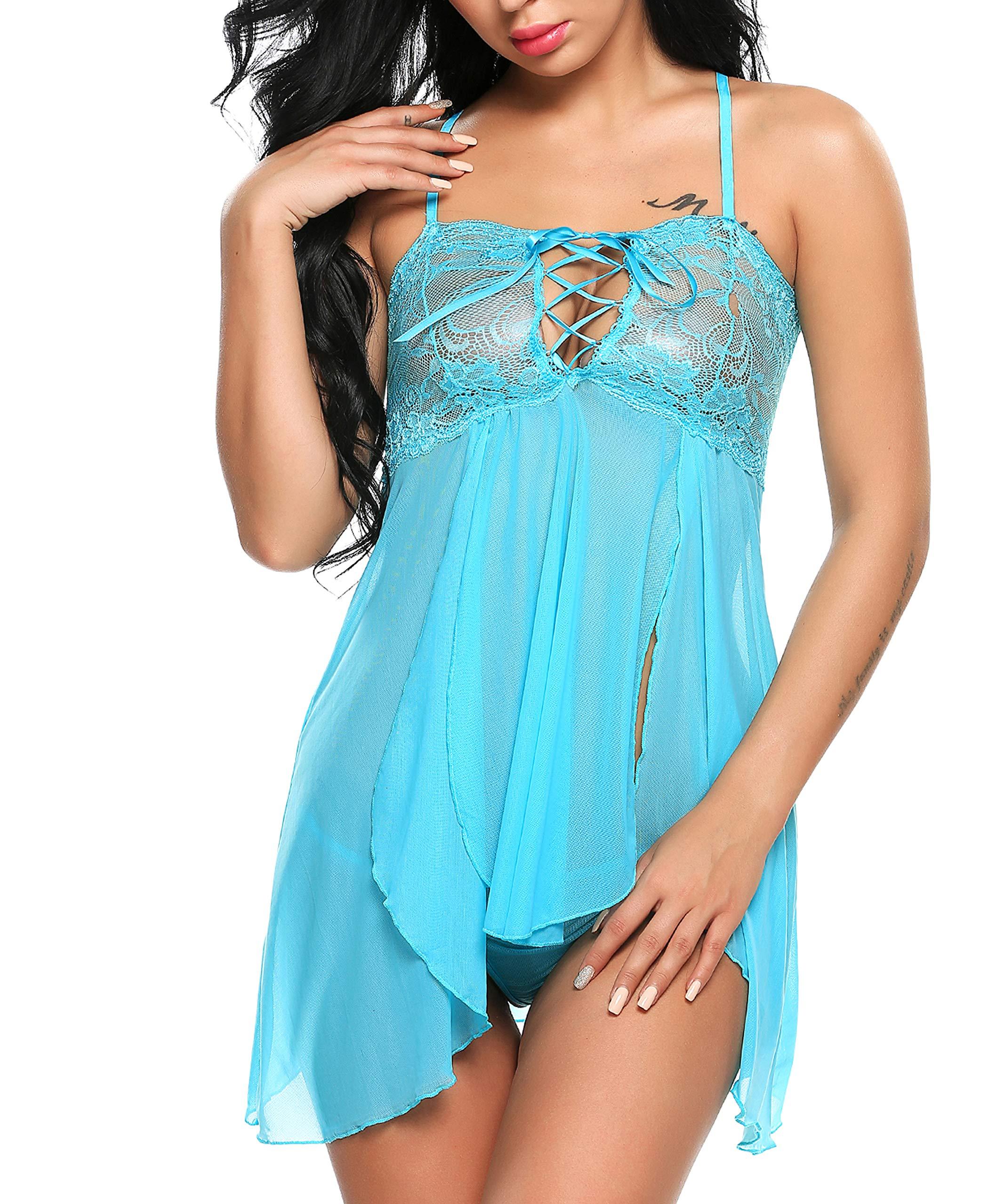 Avidlove Women Strappy Sexy Lingerie Set Babydoll Lace Bra Chemises Set