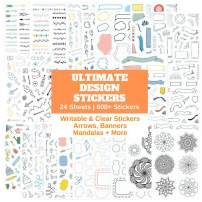 Ultimate Design Elements Planner Stickers Set - Huge Value Pack of 24 Sheets - Clear Stickers, Banners, Arrows, Mandala Coloring - Stunning Supplies and Accessories for Bullet Journals or Scrapbooks