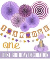 """FIRST BIRTHDAY DECORATION SET FOR GIRL- 1st Baby GIRL Birthday Party, Stars Paper Garland, Gold Cake Topper""""One"""", Purple Banner, Purple Fiesta Hanging Paper Fan Flower (First Birthday Decoration) …"""