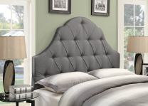 Pulaski Shaped Camel Back Button Tufted Upholstered Headboard, Ash, King