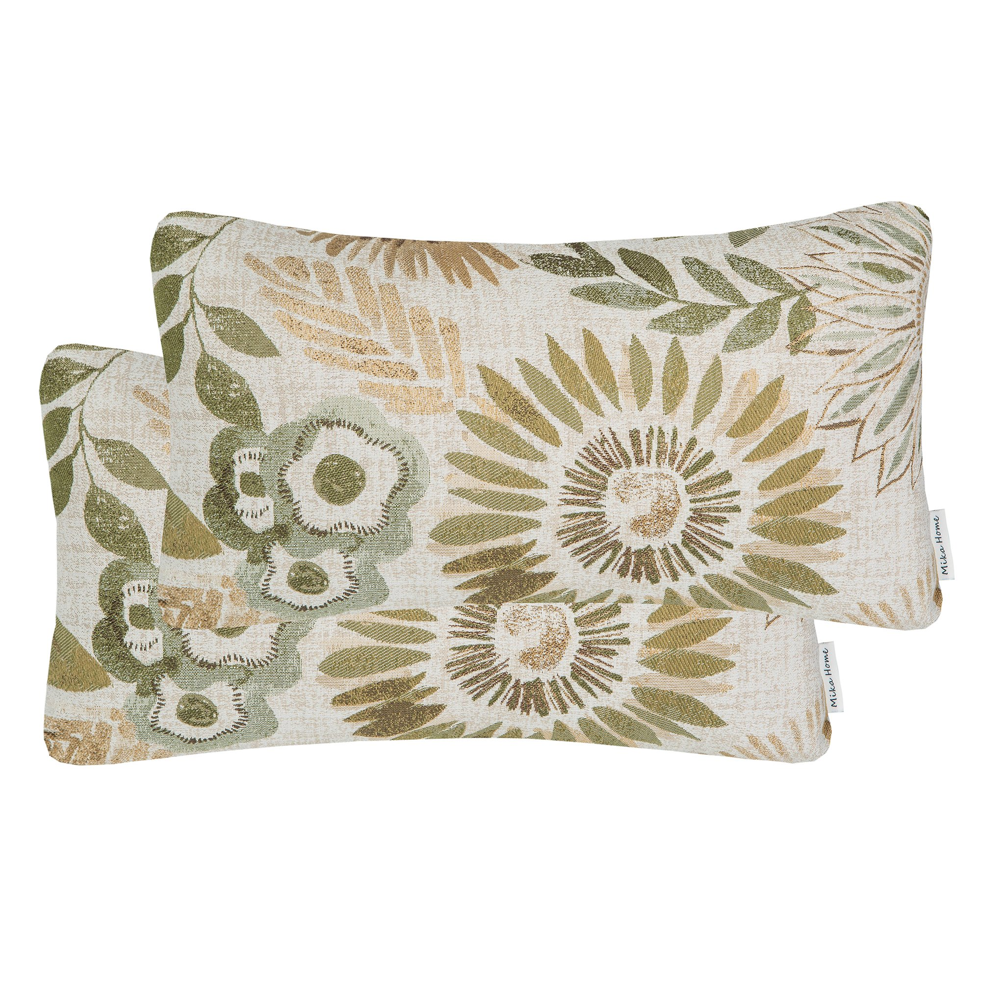 Mika Home Pack of 2 Decorative Oblong Rectangular Throw Pillow Cover Cushion Cases for Chair,Sunflower Pattern,12x20 Inches, Green Cream