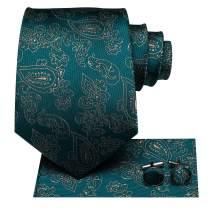 Hi-Tie Green Silk Necktie for Men with Hanky and Cufflinks Set