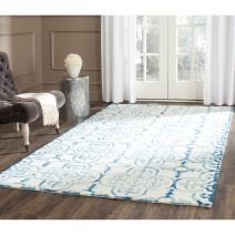 Safavieh Dip Dye Collection DDY711H Handmade Moroccan Geometric Watercolor Ivory and Turquoise Wool Area Rug (8' x 10')