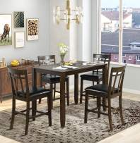 Harper & Bright Designs 5 Piece Wood Dining Table Set, Vintage Rectangular Counter Height Bar Table with 4 Chairs for Dining Room, Pub and Bistro (Antique Mahogany)