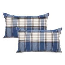 YOUR SMILE Set of 2 Retro Farmhouse Outdoor/Indoor Buffalo Tartan Chequer Stripe Plaid Cotton Linen Decorative Throw Pillow Case Cushion Cover Pillowcase for Sofa Chair,Blue,12x20inch