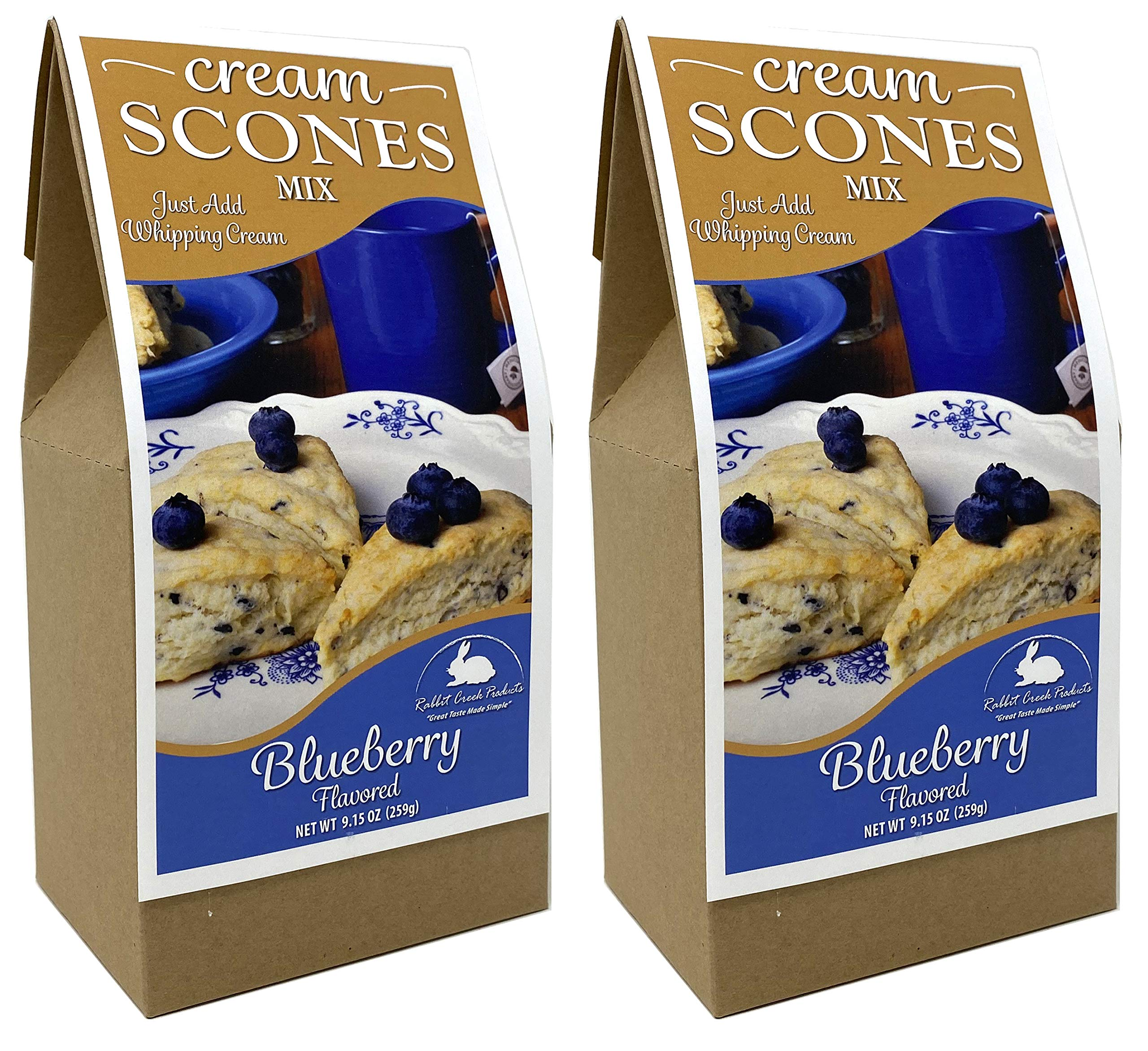 Rabbit Creek Blueberry Scones Pack of 2 - Easy Gourmet Scone Baking Mix - Made in the USA