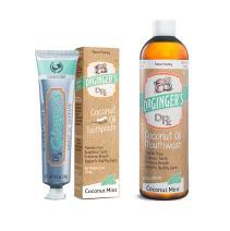 Dr. Ginger's Coconut Oil Oral Care 2-Pack Bundle - Coconut Mint Toothpaste (4 oz) + Mouthwash (12 oz)