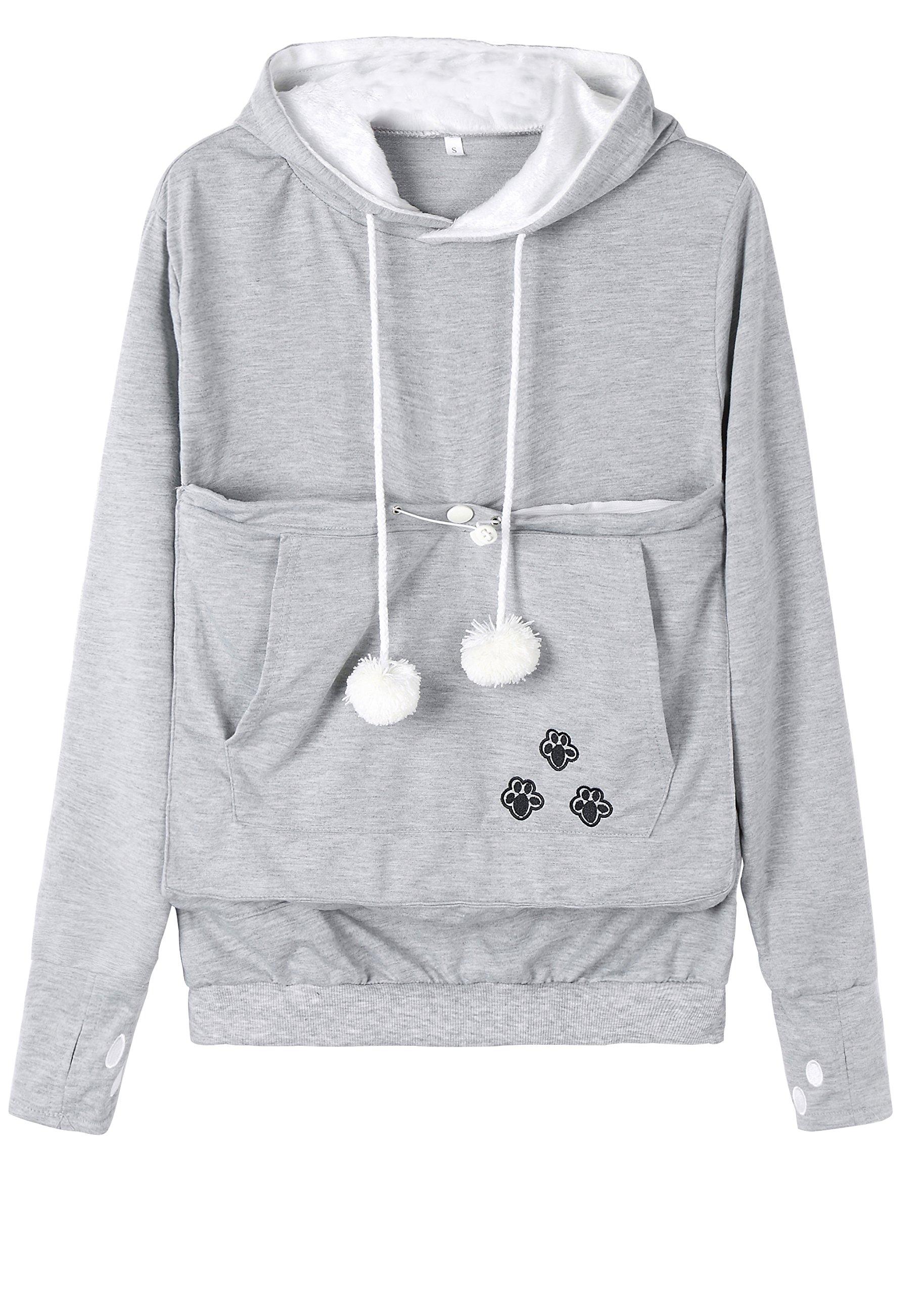 Anbech Women's Big Kangaroo Pouch Hoodie Little Pet Dog Cat Carrier Sweatshirts