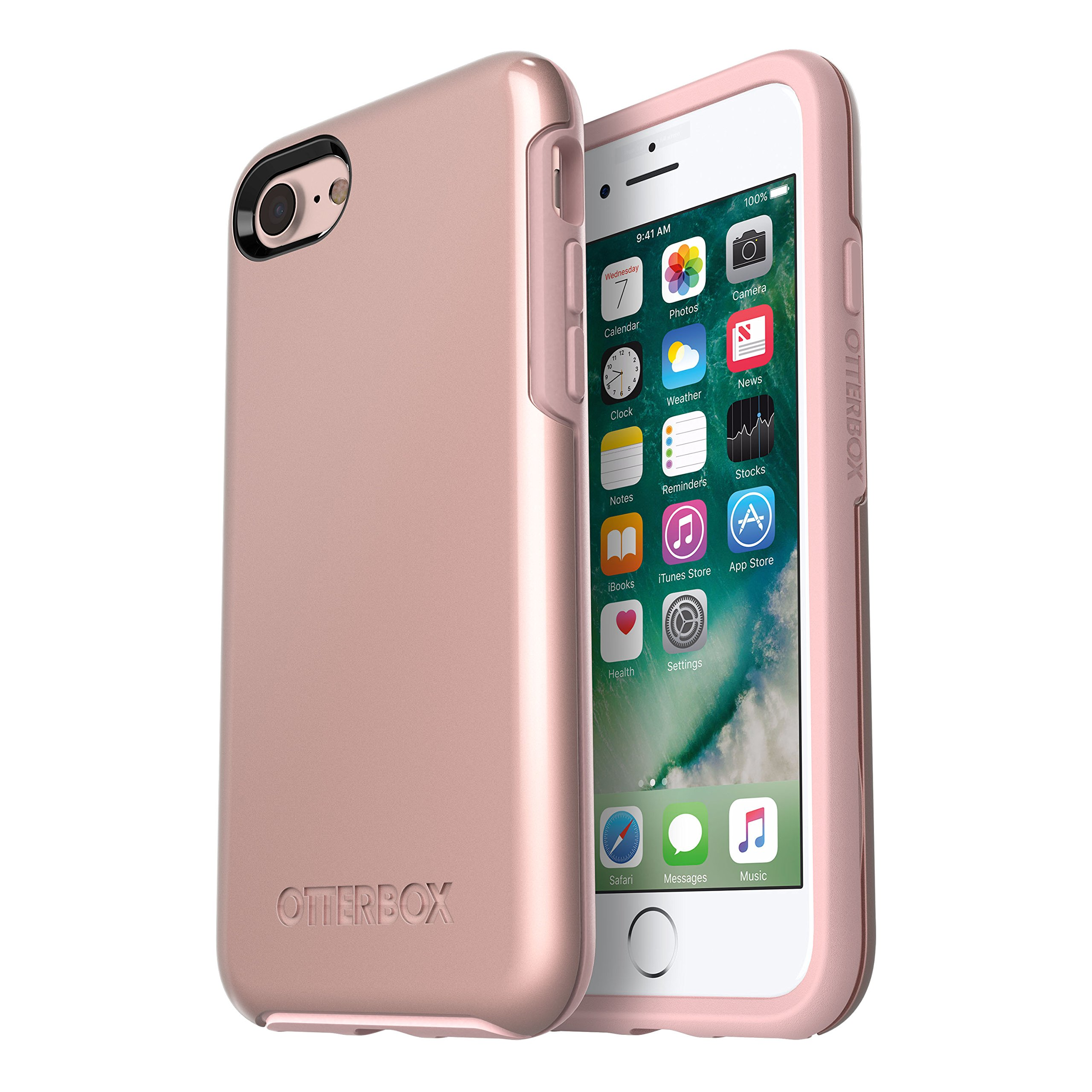 OtterBox SYMMETRY SERIES Case for iPhone SE (2nd gen - 2020) and iPhone 8/7 (NOT PLUS) - Retail Packaging - ROSE GOLD (PALE PINK/ROSE GOLD GRAPHIC)