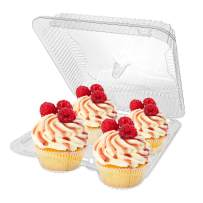 Stock Your Home 4-Compartment Disposable Containers (40 Count) - Plastic Cupcake Containers - Disposable Trays for Cupcakes & Muffins - Hinged Lock Cupcake Clamshell - Deep Cups for Cupcake Storage…