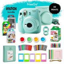 Fujifilm Instax Mini 9 Instant Camera Bundle-Deluxe Kit with NeeGo Case & Accessories + 4 Fun Film Packs–Rainbow, Stained Glass, Monochrome & White 50 Exposures for Instant Creative Photos-Ice Blue