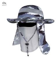 YR.Lover Fishing Outdoor Sun Hat with Removable Neck Face Flap, UPF 50+ UV Sun Protection Bucket Cap, Mesh Boonie Hat