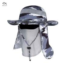 YR.Lover Outdoor UV Sun Protection Wide Brim Fishing Cap with Removable Flap