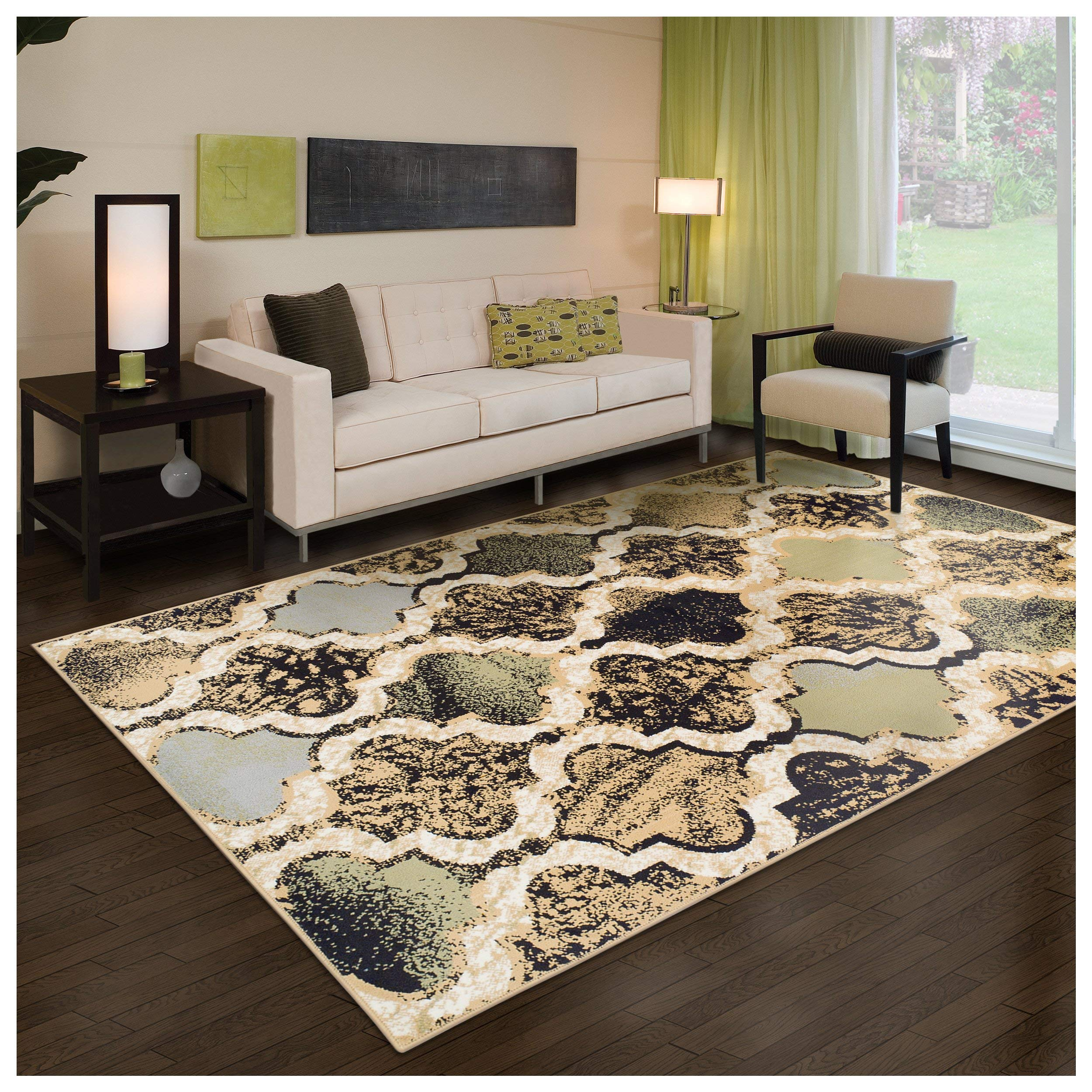 Superior Modern Viking Collection Area Rug, 8mm Pile Height with Jute Backing, Chic Textured Geometric Trellis Pattern, Anti-Static, Water-Repellent Rugs - Multi-Colored, 8' x 10' Rug