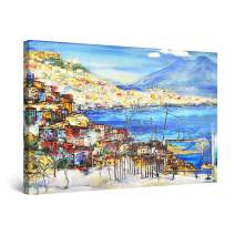 "Startonight Canvas Wall Art Abstract - Amalfi Golf Italy Landscape Painting - Large Framed 32"" x 48"""