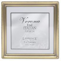 Lawrence Frames Antique Brass 5x5 Picture Frame - Bead Border Design