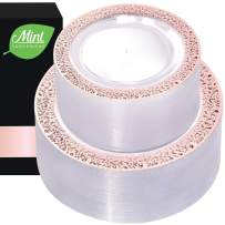 102 Rose Gold Clear Lace Plastic Disposable Party Plates - 51 Heavy Duty Fancy Elegant Wedding Dinner Plates, 51 Salad/Dessert/Appetizer Plates
