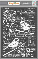 CrafTreat Bird Stencils for Painting on Wood, Canvas, Paper, Fabric, Floor, Wall and Tile - Bird Song - Size: A4 - Reusable DIY Art and Craft Stencils for Mixed Media Art - Bird Stencils for Painting