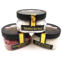 I Love You & Food Sea Salt Collection 3-Pack: Raspberry Chipotle, Black Truffle, Fleur de Sel - A Perfect Food Lover's Gift, Delicious, Unusual Sea Salt Infusions - Non-GMO, Gluten-Free, No MSG (12 to