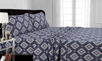 Tribeca Living 200-GSM Damask Printed Deep Pocket Flannel Sheet Set Cal King