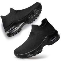 PDBQ Womens Walking Shoes Sock Sneakers Nurse Mesh Slip On Air Cushion Platform Loafers Breathable Lightweight Comfort Socks Shoes