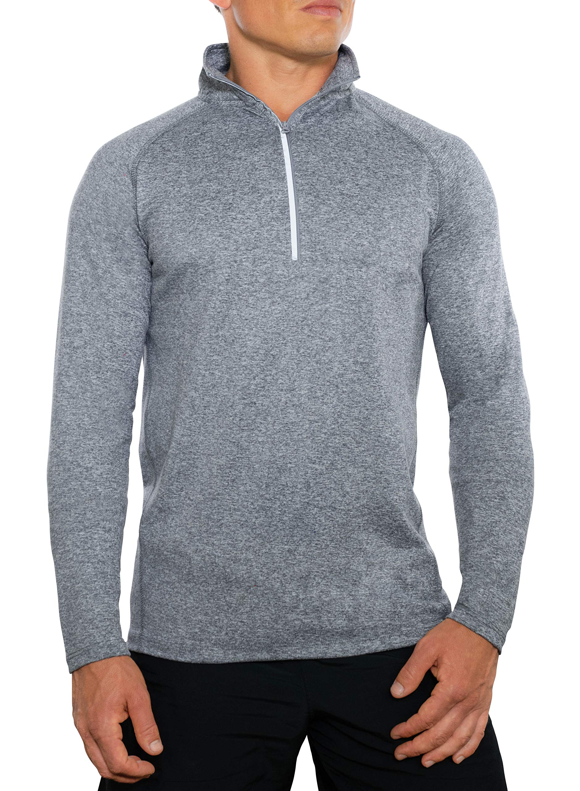 CC Perfect Slim Fit Quarter Zip Pullover Men | Quick Dry Fit Tech Performance | Mens Moisture Wicking Long Sleeve 1/4 Zip Up