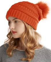 NEOSAN Women's Winter Ribbed Knit Faux Fur Pompoms Chunky Slouchy Beanie Hats