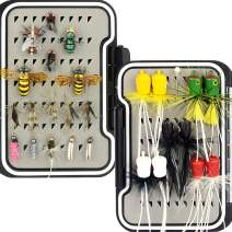 Fly Fishing Flies Kit /Trout/Salmon/ bass Flies Streamers . Dry/Wet Flies.Nymphs, ,Fly Poppers (with Waterproof Fly Box)