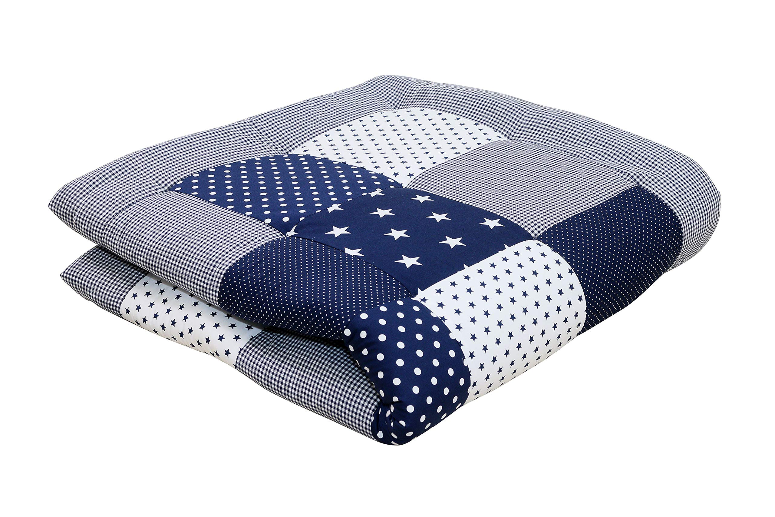 """Soft Padded Baby Play Mat Thick by ULLENBOOM - 40"""" x 40"""" - Polka Dot/Star - Infant Activity Blanket - Boys Blue/White"""