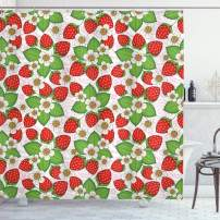 """Ambesonne Spring Shower Curtain, Floral Pattern with Strawberries Flowers and Leaf Season Inspirational Design, Cloth Fabric Bathroom Decor Set with Hooks, 70"""" Long, Green Red"""