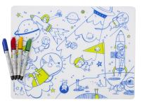 modern-twist 100% plastic free silicone, waterproof, dishwasher safe, Mark-Mat, Mat & Marker Set, Space Animals
